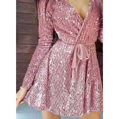 Sequins/Solid Long Sleeves A-line Above Knee Little Black/Party Wrap/Skater Dresses