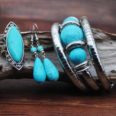 Exotisch Boho Legierung Türkis mit Juwel Schmuck Sets Ohrringe Armbänder Ringe (3-er Set)