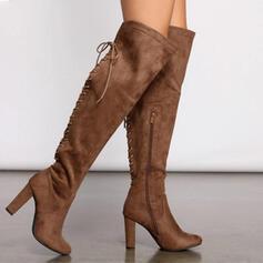 Frauen Veloursleder Stämmiger Absatz Geschlossene Zehe Stiefel über Knie Round Toe mit Reißverschluss Zuschnüren Schuhe