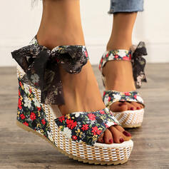 Women's Cloth Wedge Heel Sandals Wedges Peep Toe Heels With Bowknot Lace-up shoes