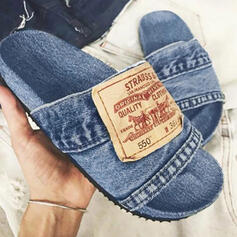 Women's Denim Flat Heel Sandals Flats Peep Toe Slippers With Letter shoes