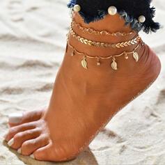 heißeste Legierung mit Blatt Strandschmuck Fußkettchen (3-er Set)