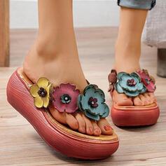 Women's PU Wedge Heel Sandals Peep Toe Flip-Flops Slippers With Applique shoes