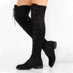 Women's PU Chunky Heel Over The Knee Boots Pointed Toe With Zipper Lace-up Solid Color shoes