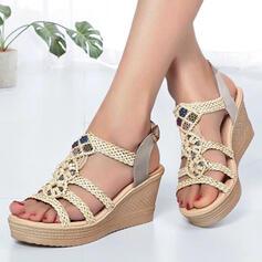 Frauen PU Keil Absatz Sandalen Plateauschuh Keile Peep Toe mit Perlstickerei Hohl-out Schuhe