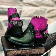 Frauen PU Niederiger Absatz Stiefelette Reitstiefel Round Toe mit Niete Zuschnüren Spleißfarbe Schuhe