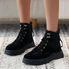 Frauen Leinwand Niederiger Absatz Martin Stiefel Round Toe mit Spleißfarbe Schuhe