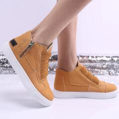 Women's Cloth Canvas Fabric Flat Heel Flats Boots High Top Round Toe Loafers Slip On With Zipper Solid Color shoes