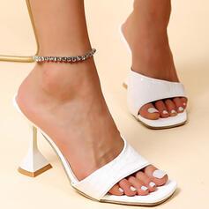 Women's PU Kitten Heel Sandals Pumps Peep Toe Slippers Heels With Solid Color shoes