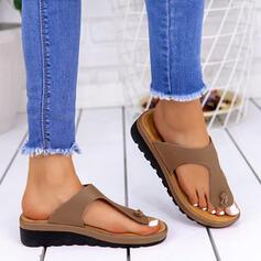 Frauen PU Niederiger Absatz Sandalen Flip Flops Pantoffel mit Spleißfarbe Schuhe