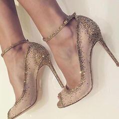 Frauen Mesh Stöckel Absatz Absatzschuhe Peep Toe mit Strass Schuhe