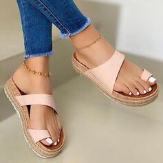 Frauen PU Flascher Absatz Sandalen Plateauschuh Peep Toe Pantoffel Zehenring mit Hohl-out Spleißfarbe Schuhe