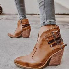 Frauen PU Stämmiger Absatz Stiefelette Spitze mit Niete Schnalle Schuhe