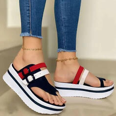 Women's PU Wedge Heel Sandals Platform Wedges Slippers Toe Ring With Buckle Hollow-out Splice Color shoes