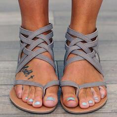 Women's PU Flat Heel Sandals Flats Peep Toe Flip-Flops With Elastic Band shoes