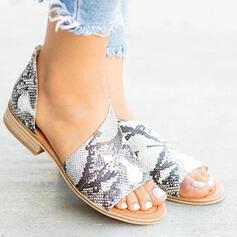 Frauen PU Niederiger Absatz Sandalen Peep Toe mit Reißverschluss Hohl-out Schuhe