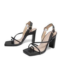 Frauen PU Stöckel Absatz Sandalen Absatzschuhe Peep Toe Quadratischer Zeh mit Schnalle Blume Schuhe