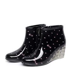 Frauen PVC Keil Absatz Keile Stiefel Regenstiefel Schuhe