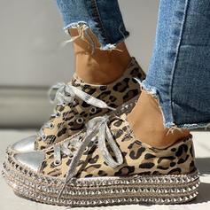 Frauen Leinwand Lässige Kleidung Outdoor mit Niete Zuschnüren Schuhe