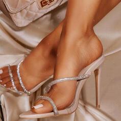 Frauen PU Stöckel Absatz Sandalen Absatzschuhe Schuhe