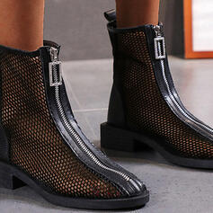Women's Cloth Mesh Low Heel Mid-Calf Boots Round Toe With Zipper Solid Color shoes