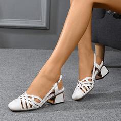 Frauen Microfaser-Leder Stämmiger Absatz Absatzschuhe Geschlossene Zehe mit Schnalle Hohl-out Schuhe