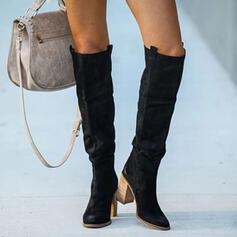 Women's PU Chunky Heel Boots Knee High Boots With Ruched Solid Color shoes