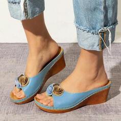 Frauen PU Keil Absatz Sandalen Peep Toe Pantoffel mit Blume Schuhe