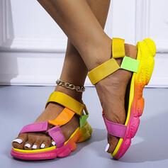Women's PU Flat Heel Sandals Flats Platform Peep Toe With Hollow-out Velcro shoes