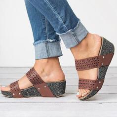 PU Keil Absatz Sandalen Plateauschuh Keile Peep Toe Pantoffel Heels mit Andere Schuhe