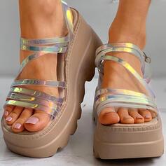 Frauen PU Flascher Absatz Keile Peep Toe mit Schnalle Hohl-out Schuhe