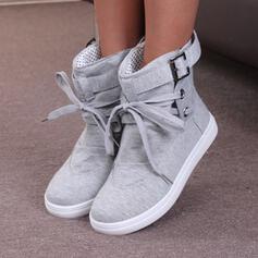 Frauen PU Flascher Absatz Stiefelette Round Toe mit Zuschnüren Einfarbig Schuhe