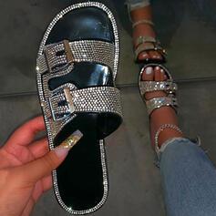 Frauen Kunstleder Funkelnde Glitzer Flascher Absatz Flip Flops Pantoffel mit Strass Schnalle Schuhe