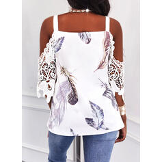 Print Feather Lace Cold Shoulder 1/2 Sleeves Cold Shoulder Sleeve Casual Blouses