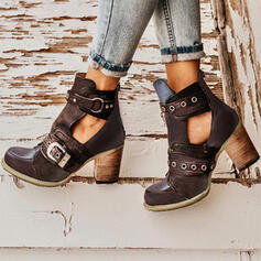Women's PU Chunky Heel Pumps Closed Toe Boots Round Toe Martin Boots With Buckle Hollow-out Solid Color shoes
