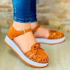 Frauen Veloursleder Flascher Absatz Flache Schuhe Round Toe Slipper & Slips mit Bowknot Schnalle Hohl-out Einfarbig Schuhe
