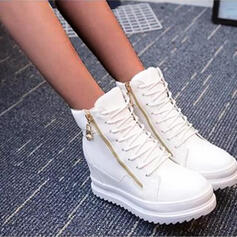 Women's PU Flat Heel Flats Round Toe Sneakers With Lace-up Solid Color shoes