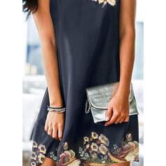 Druck/Blumen Ärmellos Shift Über dem Knie Elegant Kleider