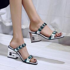 Frauen PU Stämmiger Absatz Sandalen Peep Toe Pantoffel Heels mit Hohl-out Spleißfarbe Schuhe