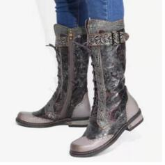 Women's PU Chunky Heel Boots Mid-Calf Boots Round Toe With Buckle Lace-up Splice Color shoes