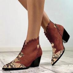 Frauen Kunstleder Stämmiger Absatz Stiefelette mit Applikationen Rüschen Zweiteiliger Stoff Schuhe