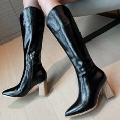 Women's PU Chunky Heel Boots Mid-Calf Boots Pointed Toe With Zipper Solid Color shoes