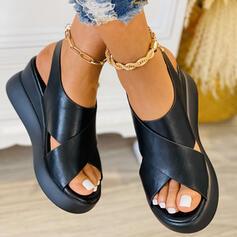 Women's PU Wedge Heel Sandals Platform Wedges Peep Toe Slingbacks With Solid Color Crisscross shoes