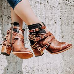Frauen Kunstleder Stämmiger Absatz Sandalen Stiefel Peep Toe Stiefelette High Top mit Schnalle Reißverschluss Schuhe