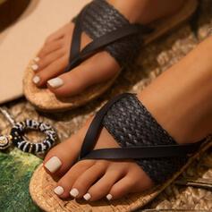 Frauen PU Flascher Absatz Sandalen Flache Schuhe Peep Toe Flip Flops Pantoffel Round Toe mit Geflochtenes Band Zweiteiliger Stoff Schuhe