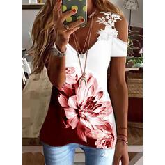 Print Color Block Floral Lace Cold Shoulder Short Sleeves Cold Shoulder Sleeve Casual Blouses