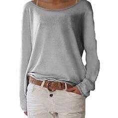 Einfarbig Rundhalsausschnitt Lange Ärmel Freizeit Basic Blusen
