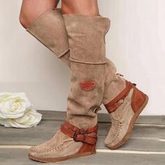 Frauen PU Flascher Absatz Stiefel Round Toe mit Schnalle Schuhe