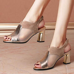 Women's Leatherette Mesh Chunky Heel Sandals Peep Toe Heels With Animal Print Hollow-out shoes