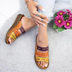 PU Keil Absatz Sandalen Keile Peep Toe Pantoffel mit Hohl-out Schuhe